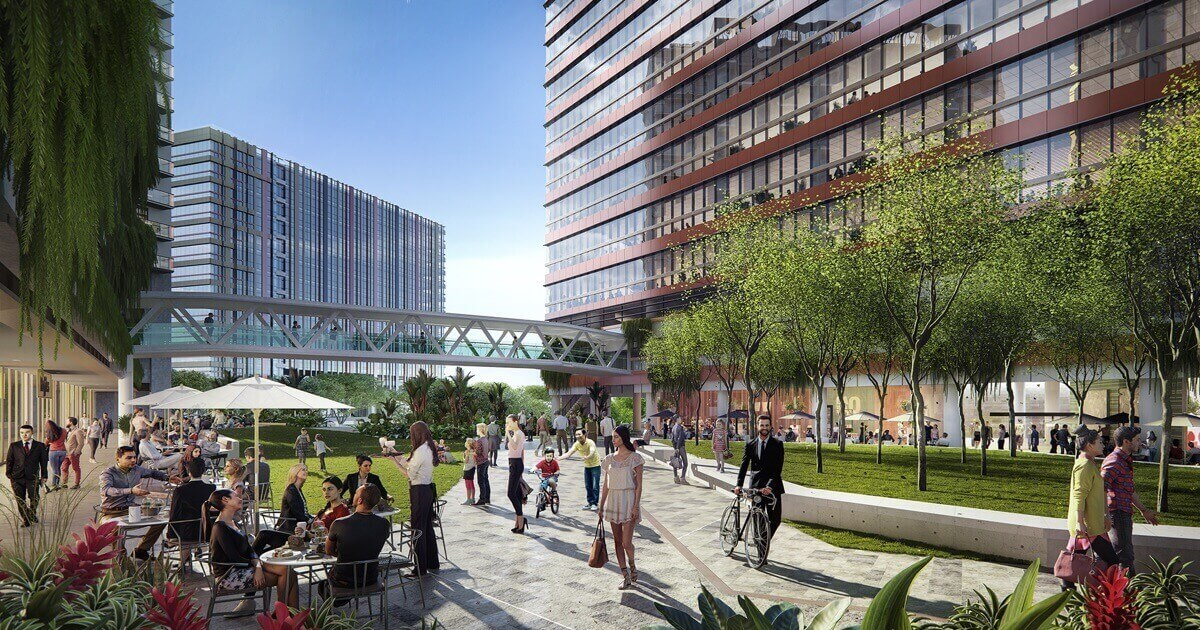 Artist's impression of Park Place Residences courtyard