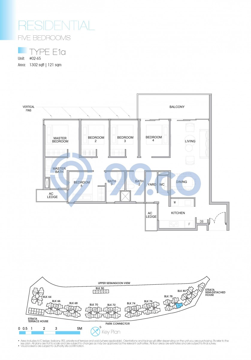 Type E1a - 5-bedroom. 1302 sqft | 121 sqm