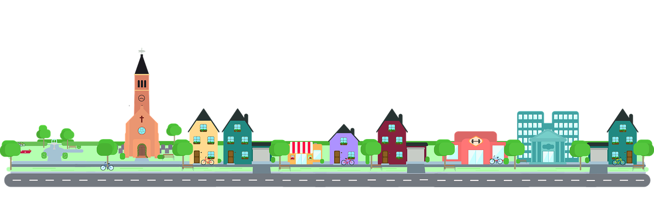 cartoon picture of a town