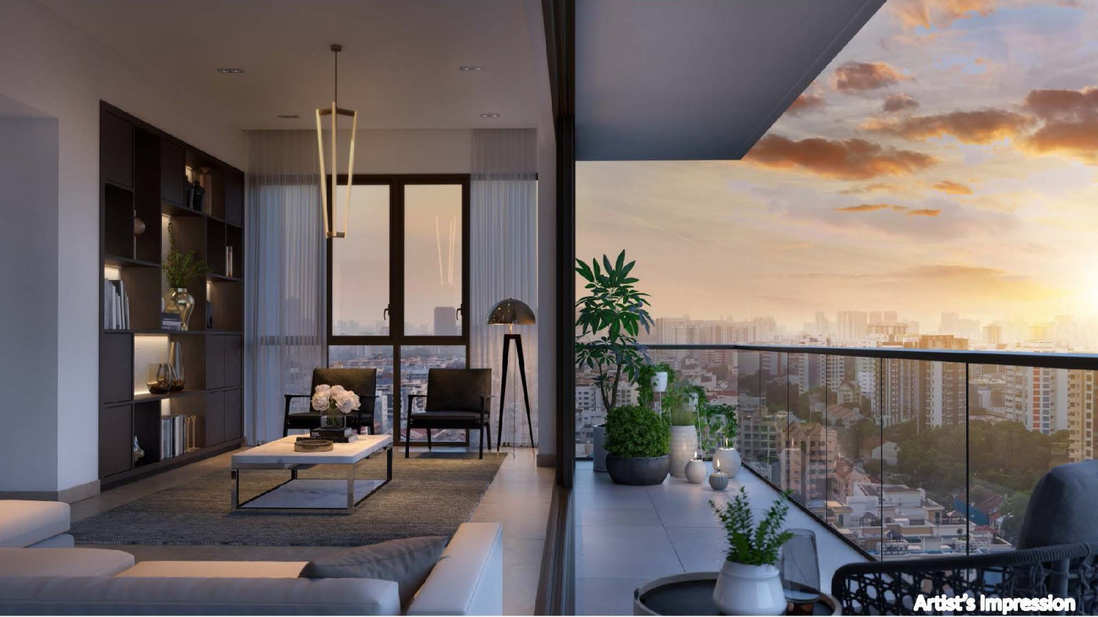 Artist's impression of Park Place Residences living room