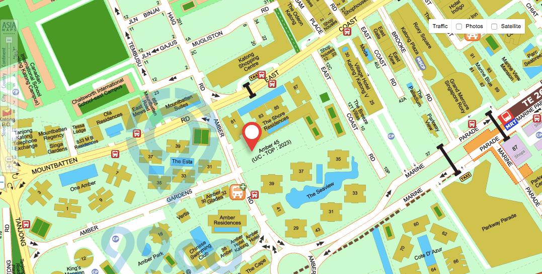 Amber 45 condo location map
