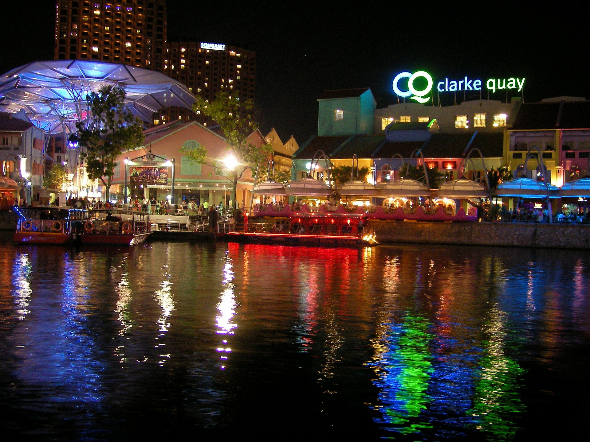 Riverside view of clarke quay at night