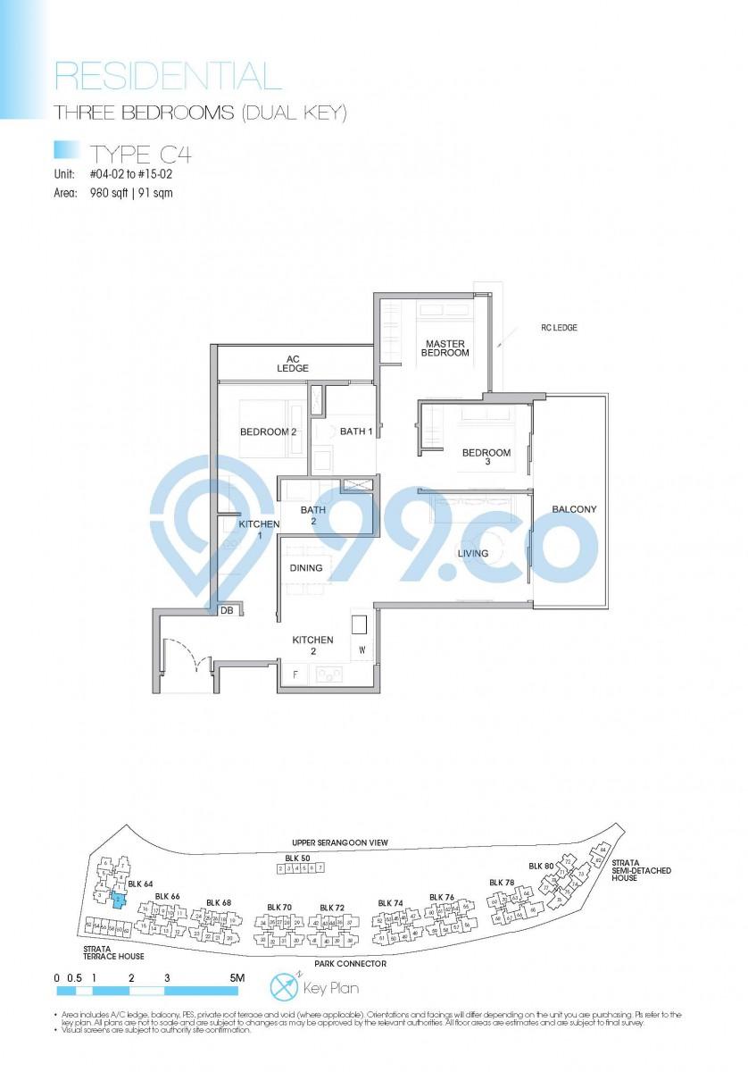 Type C4 - 3-bedroom (dual key). 980 sqft | 91 sqm