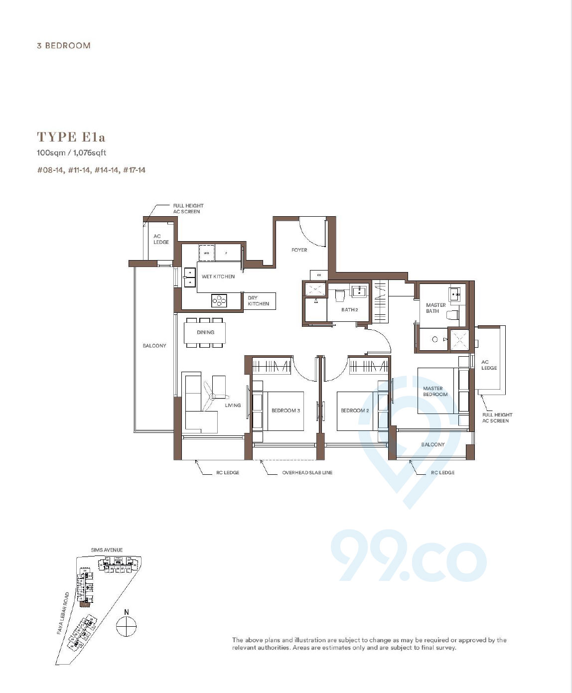 Park Place Residences 3 Bedroom Floor Plan
