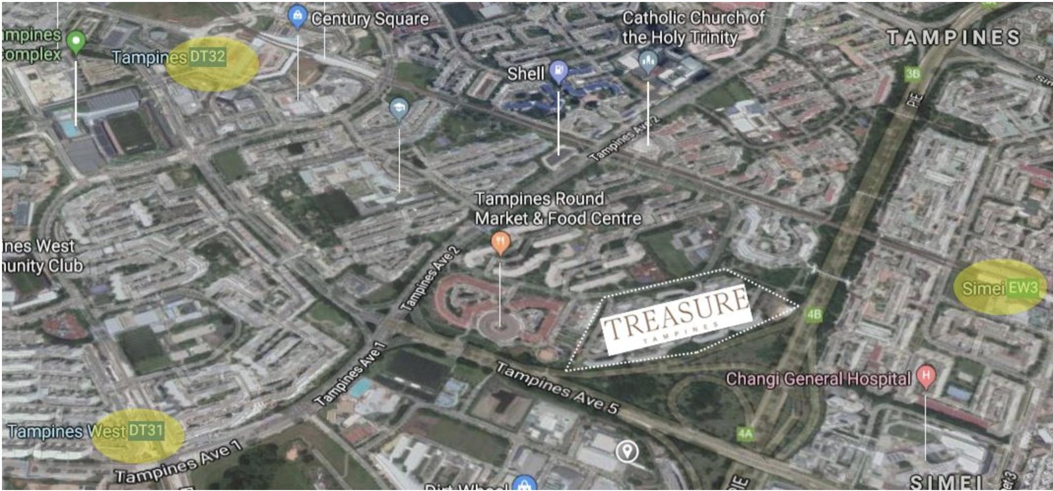 Treasure at Tampines surrounding amenities like MRT stations, malles, hospitals.