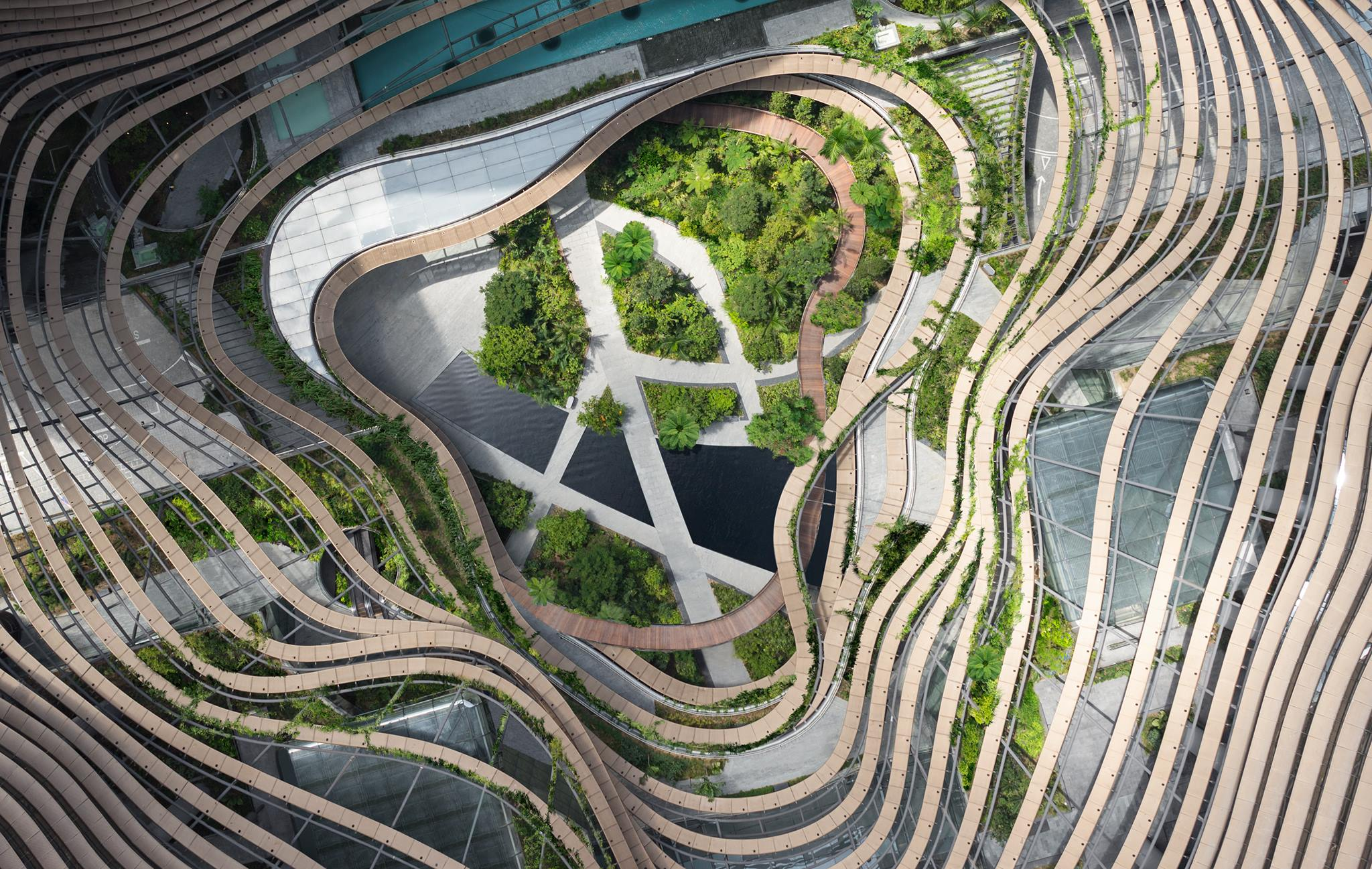 Aerial view of Marina One Residences and its heart-shaped, multi-stepped gardens