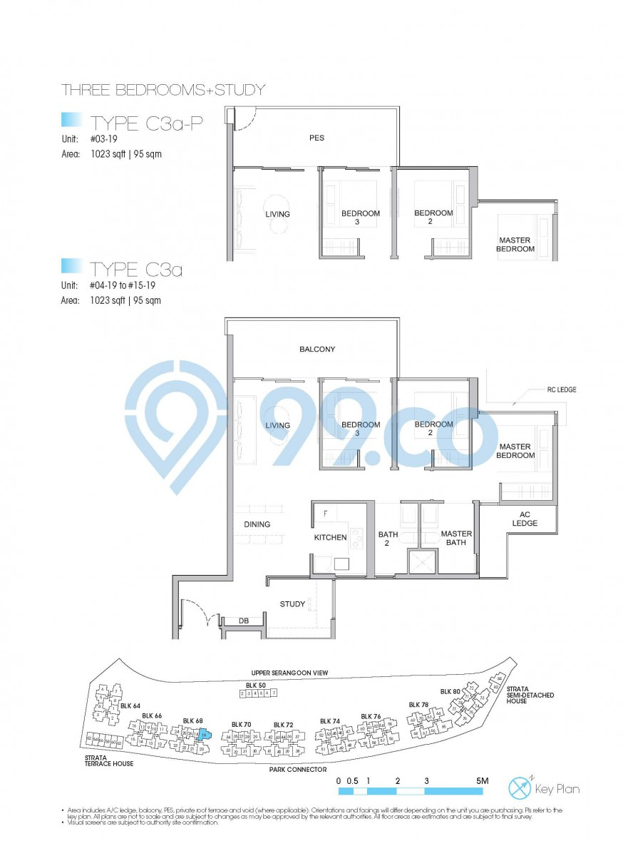 Type C3a-P - 3-bedroom with a study. 1023 sqft | 95 sqm