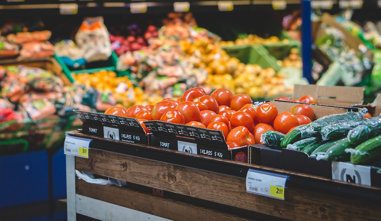Various fresh fruits and vegetables at a supermarket