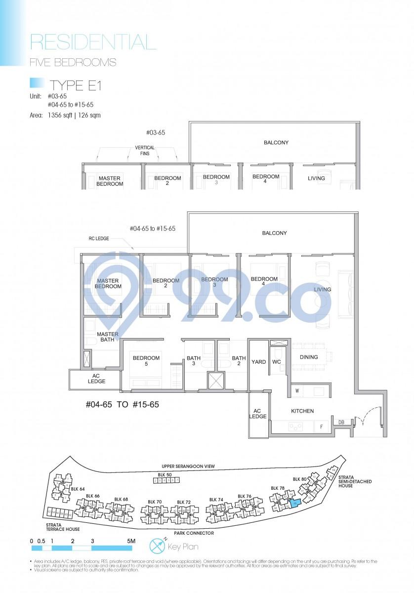 Type E1 - 5-bedroom.1256 sqft | 126 sqm