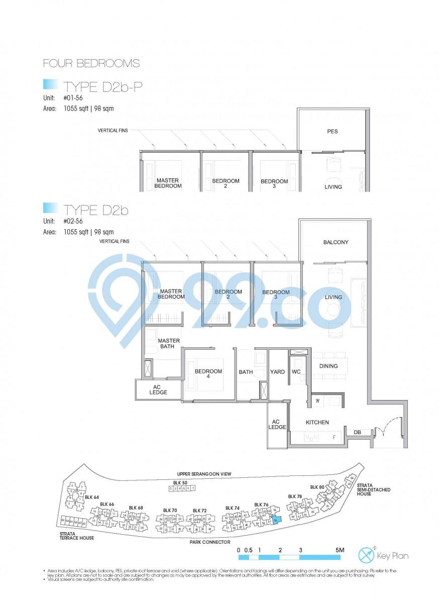Type D2b-P - 4-bedroom. 1055 sqft | 98 sqm