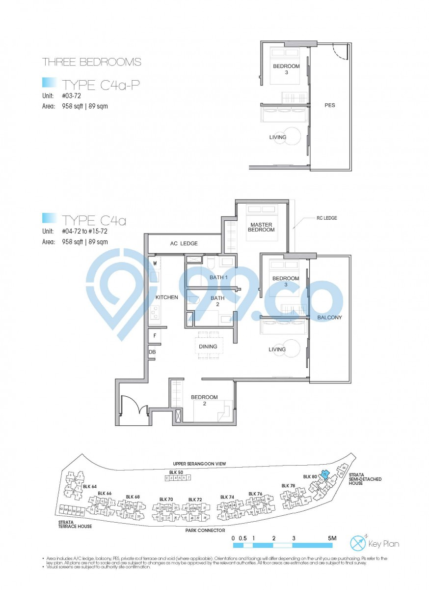 Type C4a - 3-bedroom. 958 sqft | 89 sqm