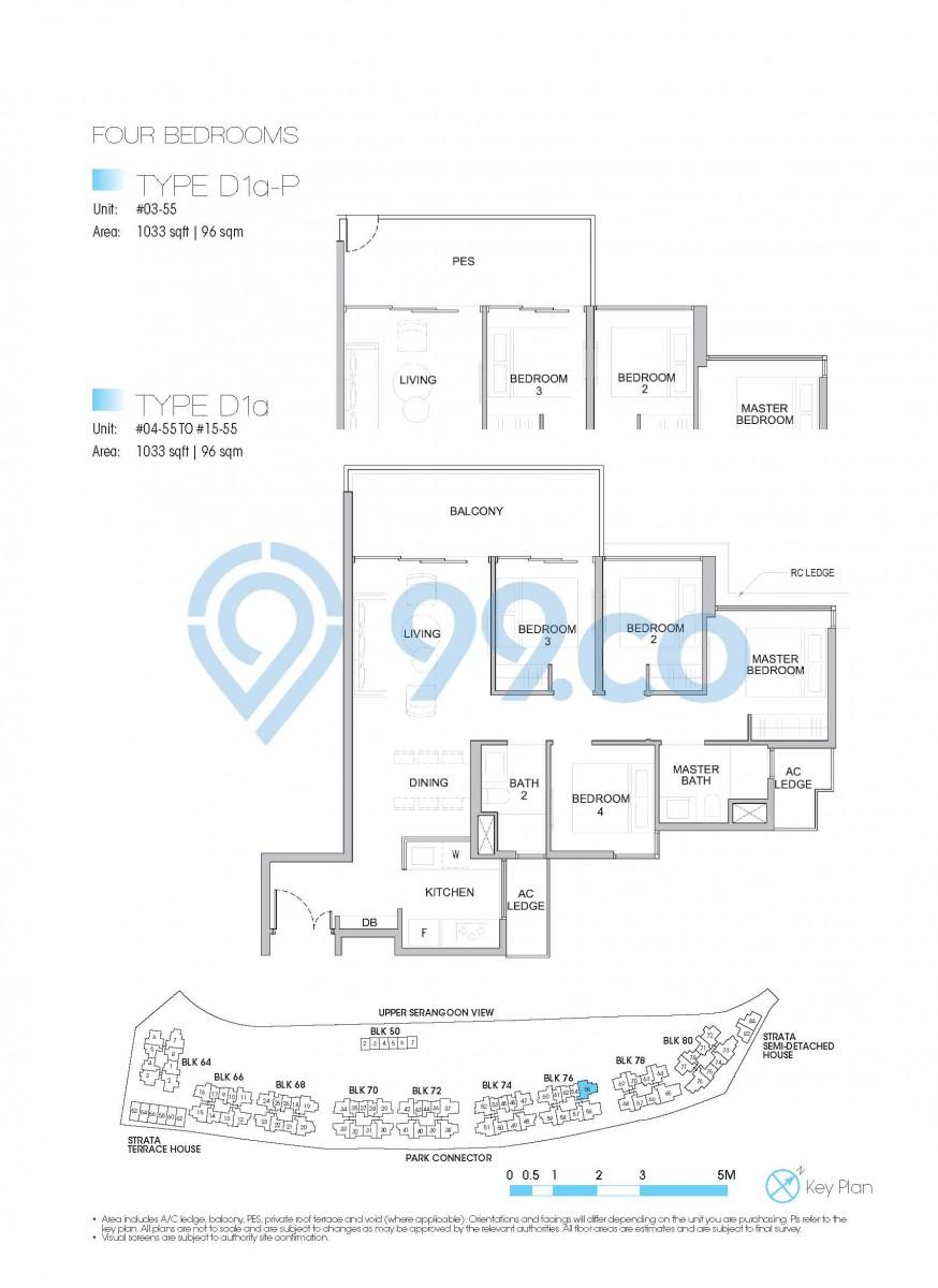 Type D1a-P - 4-bedroom. 1033 sqft | 96 sqm